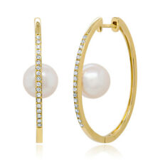0.26CT 14K Yellow Gold Real Fresh Water Pearl Natural Diamond Oval Hoop Earrings