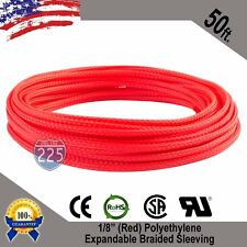 """50 FT 1/8"""" Red Expandable Wire Cable Sleeving Sheathing Braided Loom Tubing US"""