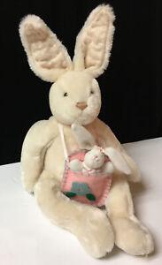 F.A.O. Schwartz Plush Cream Bunny Rabbit W/ Felt Purse & Baby Easter Vintage F4