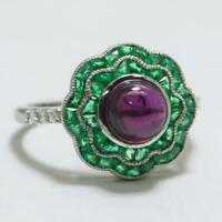 Natural 3.13ctw Rhodolite Garnet, Emerald & H-SI Diamond 18k White Gold Ring
