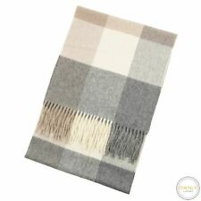 C by Bloomingdale's Grey Brown White 100% Cashmere Flannel Checked Frayed Scarf