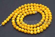 "SALE Small 4mm Yellow Round Natural Shell Loose Beads strand 15"" - los666"