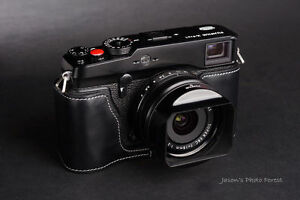 Handmade retro real Leather Half Camera Case bag cover for FUJIFILM X-Pro1 Black