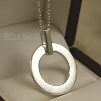 """Stamped 925 Sterling Silver Round Open Circle Pendant 18"""" Necklace Chain - UK-16"""