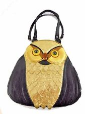 Owl Handbag, Purse, PU Synthetic Leather, Rhinestone Nose, Embossed Gold Feather