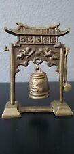 Vtg Brass Table Bell/Gong With Mallet Pagoda Cherubs, Made In Korea