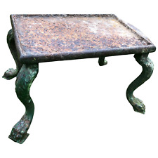 French 18th Century Grand Tour Cast Iron Plinth Garden Table Lion Claw Feet