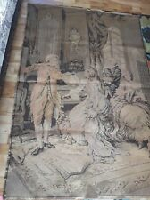 VTG Antique VICTORIAN ERA parlour Music wall rug TAPESTRY hanging Large 56x38