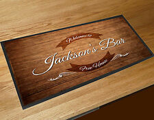 Personalised wood effect curved label bar runner Beer mat Pubs & Cocktail Bars