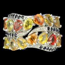 Großer Ring Saphir gelb orange rot blau 925 Silber 585 weißvergoldet Gr. 57