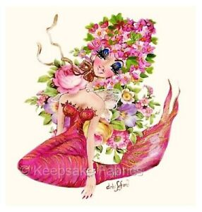 Pink Mermaid Roses Quilt Block Multi Sizes FrEE ShiPPinG WoRld WiDE