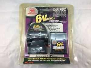 New Bright RC 6 Volt NiCd Rechargeable Battery Pack & Charger New Sealed # 670