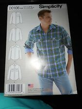 NEW UNCUT SIMPLICITY SEWING PATTERN 0106 / 1544 MENS SHIRT WITH VARIATIONS