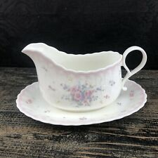 Mikasa Precious A7059 Pink Gravy Boat & Under Plate Japan Mint China Vintage