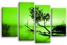 Floral Wall Art Picture Green Grey Landscape Lake Trees Canvas White Split Panel