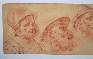 OLD MASTER STUDY.( 4 head study's) Red Chalk. Italian School.