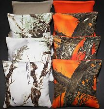 CORNHOLE BEAN BAGS True Timber White & Orange Camo Camouflage Real Tree Hunting