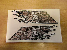 """Sticker Bomb - """"ripped""""  Flag style stickers Black/White - 300mm decals x2 LARGE"""