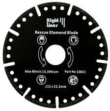 Rescue Diamond Blade. Cuts Almost Anything Metal Etc. 125mm For 5in Grinder.