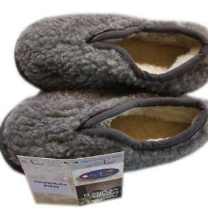 Herren Hausschuhe Wollhausschuhe Größe 41 - 42  Wolle grau Pantoffeln Schurwolle