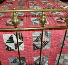 1880's SWEETEST CINNAMON PINK BROKEN DISHES ANTIQUE VINTAGE 4 POSTER BED QUILT!