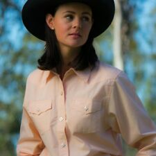 LADIES BRIGALOW WESTERN STYLE  POLY COTTON SHIRT APRICOT SIZES 12. 14 & 16L A/V