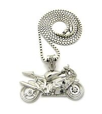 """New Iced Out Motorcycle Hip Hop Pendant &3mm/30"""" Box Chain Necklace XZP19BX"""