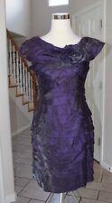 New London Times Purple 10P Cap Sleeve Shutter Shimmer Rosette Dress ($100)