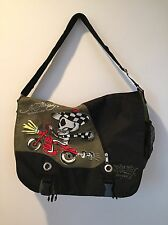 Ed Hardy Christian Audigier Messenger Bag Canvas Green/ Black EUC