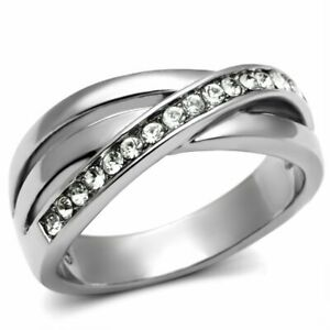 Clear CZ Bypass Womens Tarnish Free Stainless Steel Wedding Eternity Band