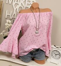 Carmen Bluse pink weiß gestreift Anker 36 38 40 Volant Ärmel Tunika Vintage Boho