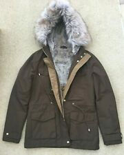 TOPSHOP BROWN PADDED JACKET COAT FAUX FUR HOODED & PART FUR LINED UK 10 TALL