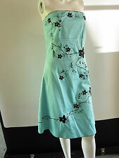 JANE NORMAN STUNNING TURQUOISE  DRESS WITH EMBROIDERED FLOWERS SIZE 12
