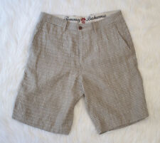 Tommy Bahama Mens Shorts Flat Front Tan and Blue Checked Casual Shorts Size 30