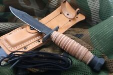 """Ontario Airforce Survival Knife 5"""" Carbon Steel Blade Natural Leather Handle 499"""
