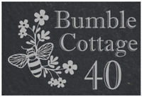 Personalised bumble bee slate door plaque, sign, welsh slate, engraved,
