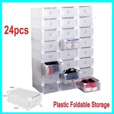 24Pcs Plastic Drawer Shoe Boxes Storage Stackable Organiser Transparent Durable