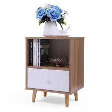 Bedside Furniture Open Storage Nightstand End Table w/Solid Wood Legs Shelf