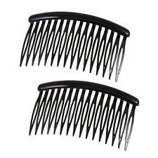 "BT Women 16 Teeth Black Plastic Comb Hair Pin Clip 3.1"" Long 2 Pcs A1Q4"