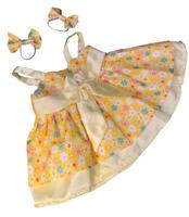 "YELLOW SUMMER FLOWER DRESS - FITS 16"" /40cm BUILD A TEDDY BEAR CLOTHES"