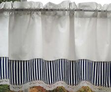 Dekogardine Scheibengardine Landhaus Streifen blau-weiß 1,36mx40cm  /Nr. 14