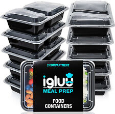 [10 Pack] 2 Compartment BPA Free Reusable Meal Prep Containers | Plastic Food |