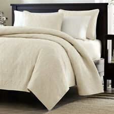 Full / Queen Ivory Beige Quilted Coverlet Quilt Set With Shams Soft Brush Fabric