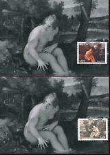 0158 monaco,2 maxicard maximum,painting maratta diana on bath,naked woman