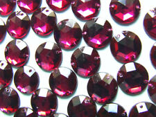 120 Burgundy/Wine Faceted Beads Acrylic Rhinestone/Gem 12 mm Flat Back Sewing On