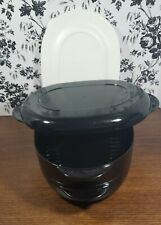 Tupperwave Oval Microwave Stack Cooker Steamer Black 4 Pieces Tupperware