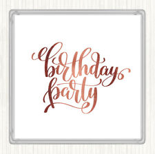 Rose Gold Birthday Party Quote Drinks Mat Coaster