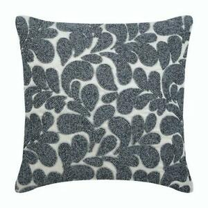 Sofa Pillowcase Designer Silver 16x16 inch, Silk Bead - Grey Scattered Floral