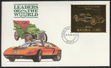 Zambia (393) 1987 Classic Cars - FERRARI in 22k gold foil on First day Cover
