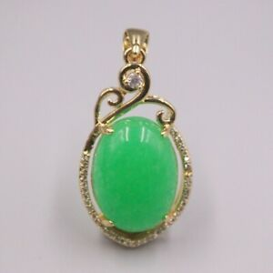 GP Heating Jade Pendant For Women Female Green Zircon Charms Gold Color Pendant